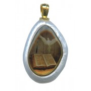 """Dove Confirmation Imitation Mother of Pearl Pendent mm.30 - 1 1/4"""""""