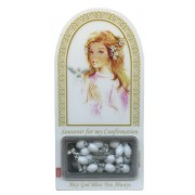 "English Girl Confirmation Set mm.120x60 -4 3/4""x2 1/4"" with Rosary RL21MA-4 (White)"