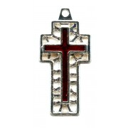 """Flat Cross with Red Enamel Perforated mm.30- 1 1/4"""""""