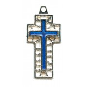 """Flat Cross with Blue Enamel Perforated mm.30- 1 1/4"""""""