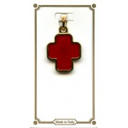 """Gold Plated Cross with Red Enamel mm.18 - 1/2"""""""