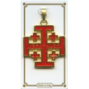 "Jerusalem Cross Gold Plated Enamelled mm.30 - 1 1/4"""