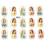 "Girl Praying 15 Stickers cm.12x16 - 5""x6"""