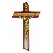 """Crucifix Olive Wood with Paduk Wood Gold Plated Corpus cm.16 - 6 3/4"""""""