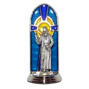 Padre Pio Oxidized Metal Statuette on Stained Glass mm.40- 1 1/2""