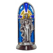 St.Joseph Oxidized Metal Statuette on Stained Glass mm.40- 1 1/2""