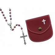 Garnet mm.6 Plastic Crystal Looking Rosary Aurora Borealis with Matching Pouch