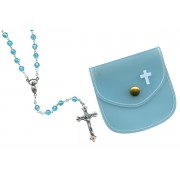 Aqua mm.6 Plastic Crystal Looking Rosary Aurora Borealis with Matching Pouch