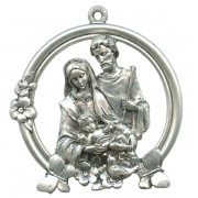 """Holy Family Pewter Medal Silver Plated cm.5 - 2"""""""