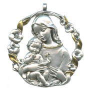 Mother and Child Pewter Medal Silver Plated and Gold cm.6.5