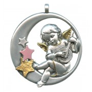 Guardian Angel Pewter Medal Silver Plated Pink and Gold cm.6.5