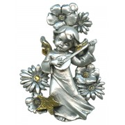 Guardian Angel Pewter Medal Silver Plated and Gold cm.6.5