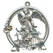 """Guardian Angel Pewter Medal Silver Plated cm.5 - 2"""""""