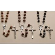 "Wood Rosaries Natural Brown and Black, cm.43 - 17"" Round Bead mm. .7 - 1/4"""