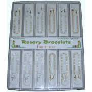 12 Piece Display of Assorted  Rosary Bracelets English or French