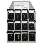 12 Piece Display of Gold Plated Crosses with Chain