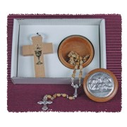 Communion Wood Cross Necklace and Wood Pyx Gift Set
