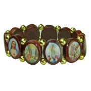 Multi-Saints Wood Elastic Bracelet Classic Model Large