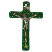 """Green Murano Crucifix cm.6.5x10.5 x 2 1/2"""" x 4"""""""