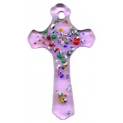 Pink Murano Cross Long cm.5 - 2""