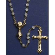 Communion Rosary Imitation Mother of Pearl Rosary Gold Plated Simple Link 3mm