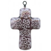 Murano Venetian Glass Cross Hand Made Amethyst cm.3- 1 1/4""