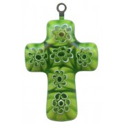Murano Venetian Glass Cross Hand Made Green cm.3- 1 1/4""