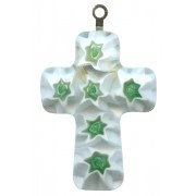 Murano Venetian Glass Cross Hand Made White/Green cm.3- 1 1/4""