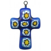 Murano Venetian Glass Cross Hand Made Cobalt cm.3- 1 1/4""