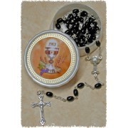 Moonstone Rosary Simple Link Chalice 5mm Black with Communion Rosary Box