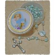 Communion Moonstone Rosary Little Hearts Aurora Borealis SImple Link 6mm with Communion Rosary Box