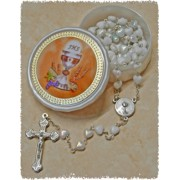Communion Moonstone Rosary Little Hearts Aurora Borealis Simple Link 6mm White with Communion Rosary Box