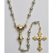 High Quality Imitation Pearl Rosary Chalice Gold Plated Simple Link 4mm Blue