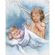 """Guardian Angel High Quality Print with Gold cm.20x25- 8""""x10"""""""