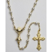 High Quality Imitation Pearl Rosary Chalice Gold Plated Simple Link 4mm White
