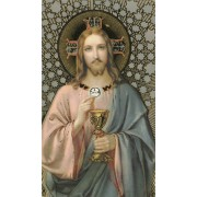 "Jesus Communion Holy Card with Gold cm.7x12 - 2 3/4"" x 4 3/4"""