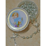 High Quality Imitation Pearl Rosary Simple Link 5mm and Chalice Blue with Communion Rosary Box