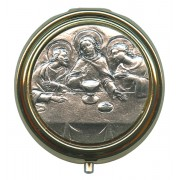 Last Supper Metal Gold Plated Pyx with Pewter Picture mm.50- 2""