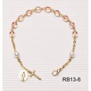Gold Plated Rosary Bracelet Blue