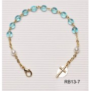 Gold Plated Rosary Bracelet Aqua