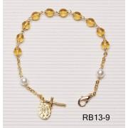 Gold Plated Rosary Bracelet Topaz