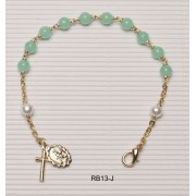 Gold Plated Rosary Bracelet Jade