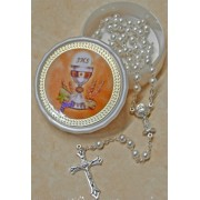High Quality Imitation Pearl Rosary Simple Link 5mm and Chalice White with Communion Rosary Box