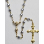 Communion High Quality Imitation Pearl Rosary Gold Plated Simple Link 5mm Blue