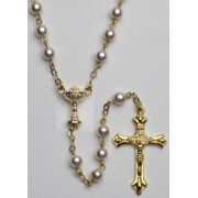Communion High Quality Imitation Pearl Rosary Gold Plated Simple Link 5mm Pink