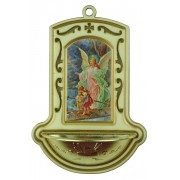 "Guardian Angel on Bridge White Water Font cm.9x13 - 3 1/2""x5"""