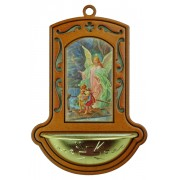 "Guardian Angel on Bridge Brown Water Font cm.9x13 - 3 1/2""x5"""