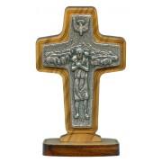 "Good Shepherd/ Pope Francis Crucifix with Base Olive Wood cm.8.5x 5.6 - 3 1/2""x 2 1/4"""