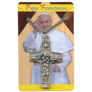 """Good Shepherd/ Pope Francis Olive Wood and Oxidized Crucifix with Chain cm.4- 1 1/2"""""""