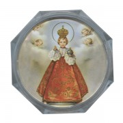 Infant of Prague Clear Octagon Rosary Box cm.5.4x 2 1/8""